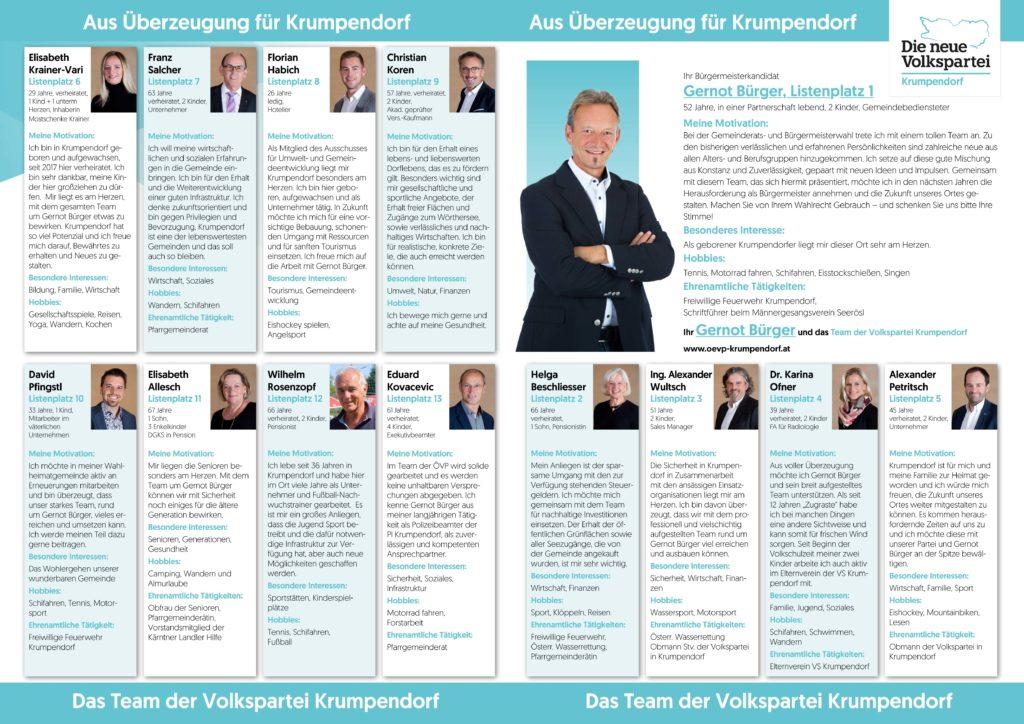 Bilder und Namen aller Kandidaten der neuen Volkspartei Krumpendorf